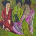 Three japanese women sitting drinking tea at a ceremony (thumbnail)