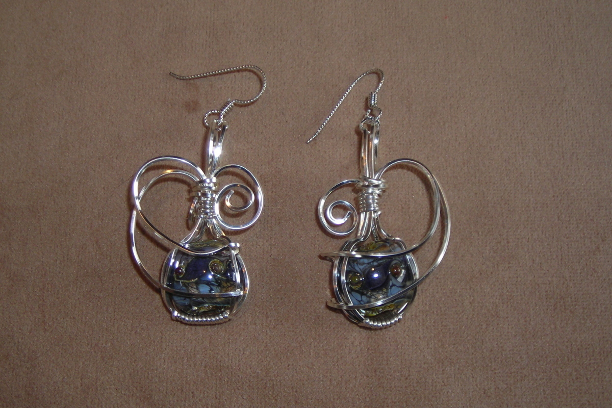 Silver wrapped lampworked glass earrings (large view)