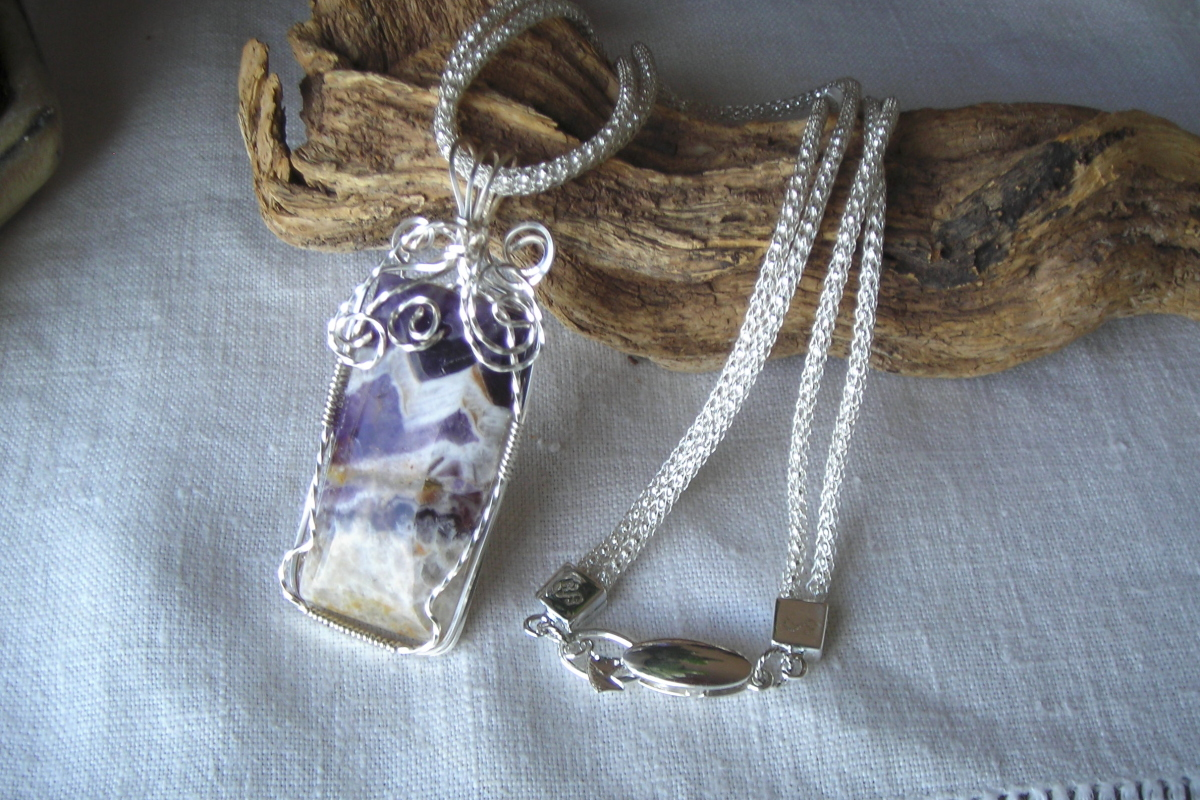 Silver wrapped chevron amethyst (large view)