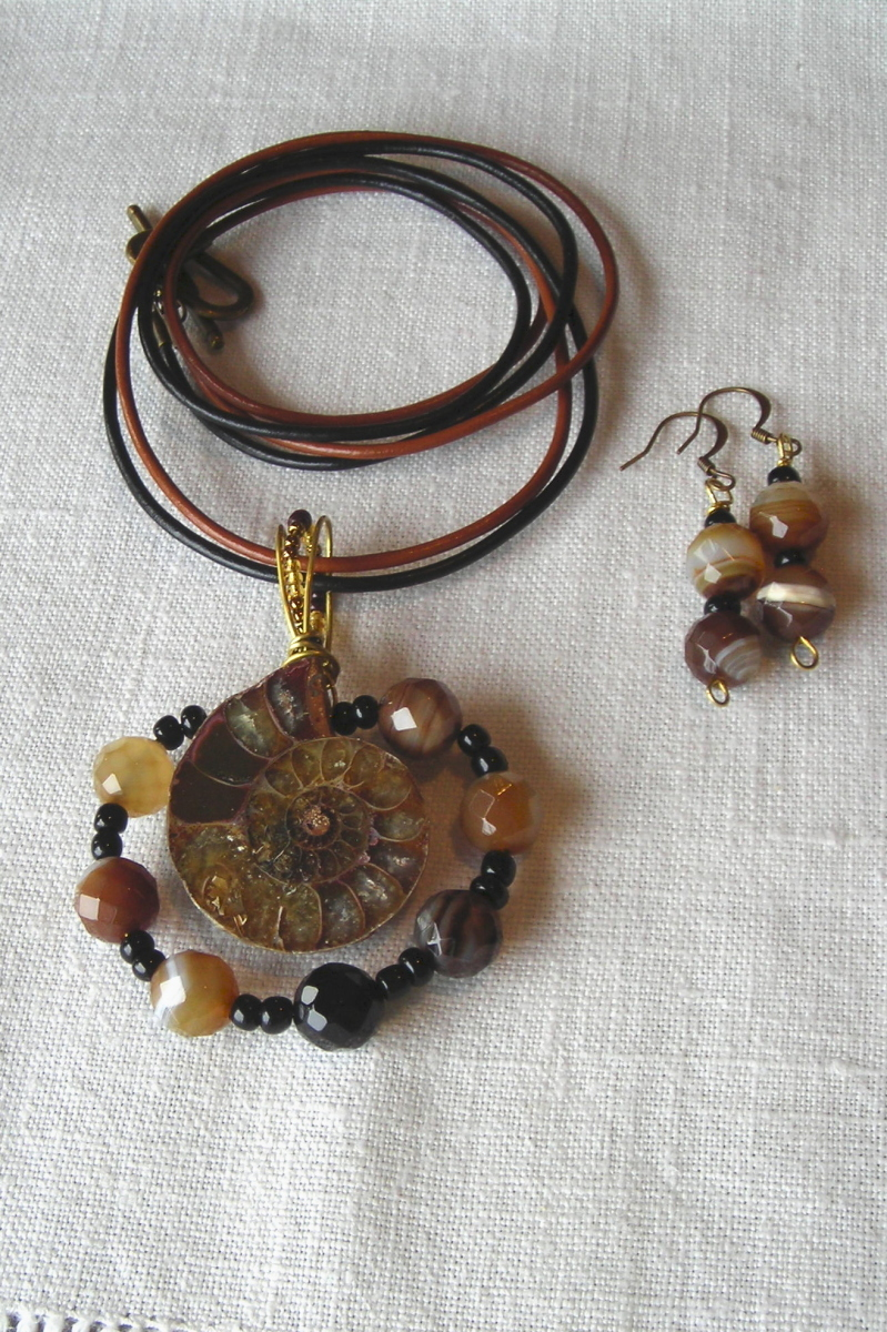 Ammonite wrapped in onyx (large view)