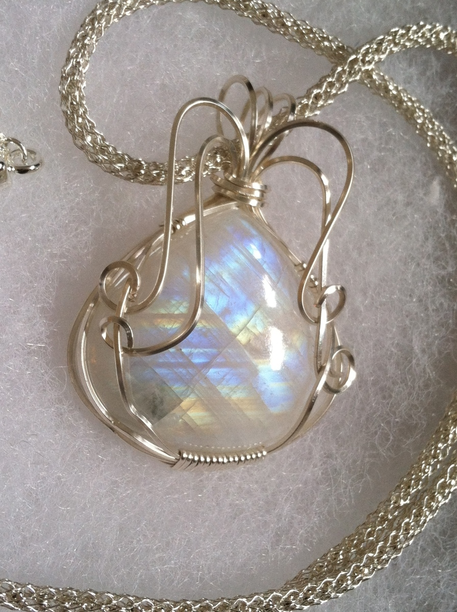Moonstone Pendant wrapped in silver (large view)