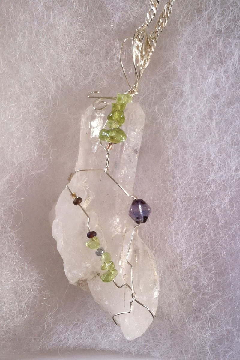 Quartz Druzy wrapped with Amethyst and Peridot (large view)