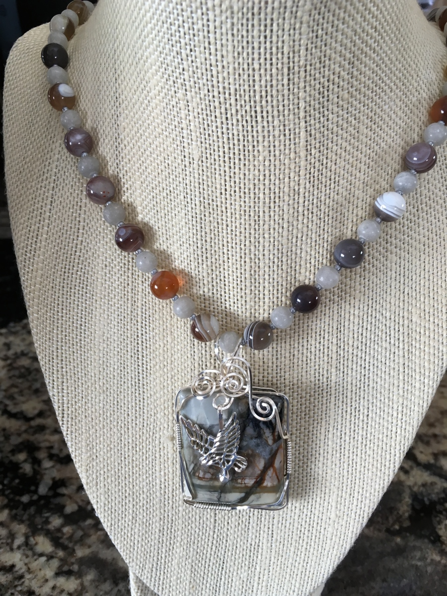 Silver Eagle, Jasper & Agate (large view)
