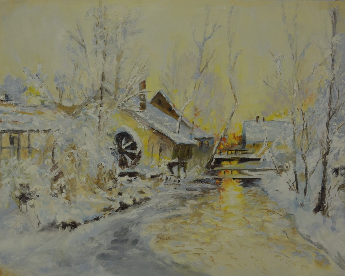 BAVARIAN MILL IN WINTER (large view)
