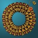 Reversible Collar in Mustard, Eggplant, Orange, Turquoise: Side 2 (thumbnail)