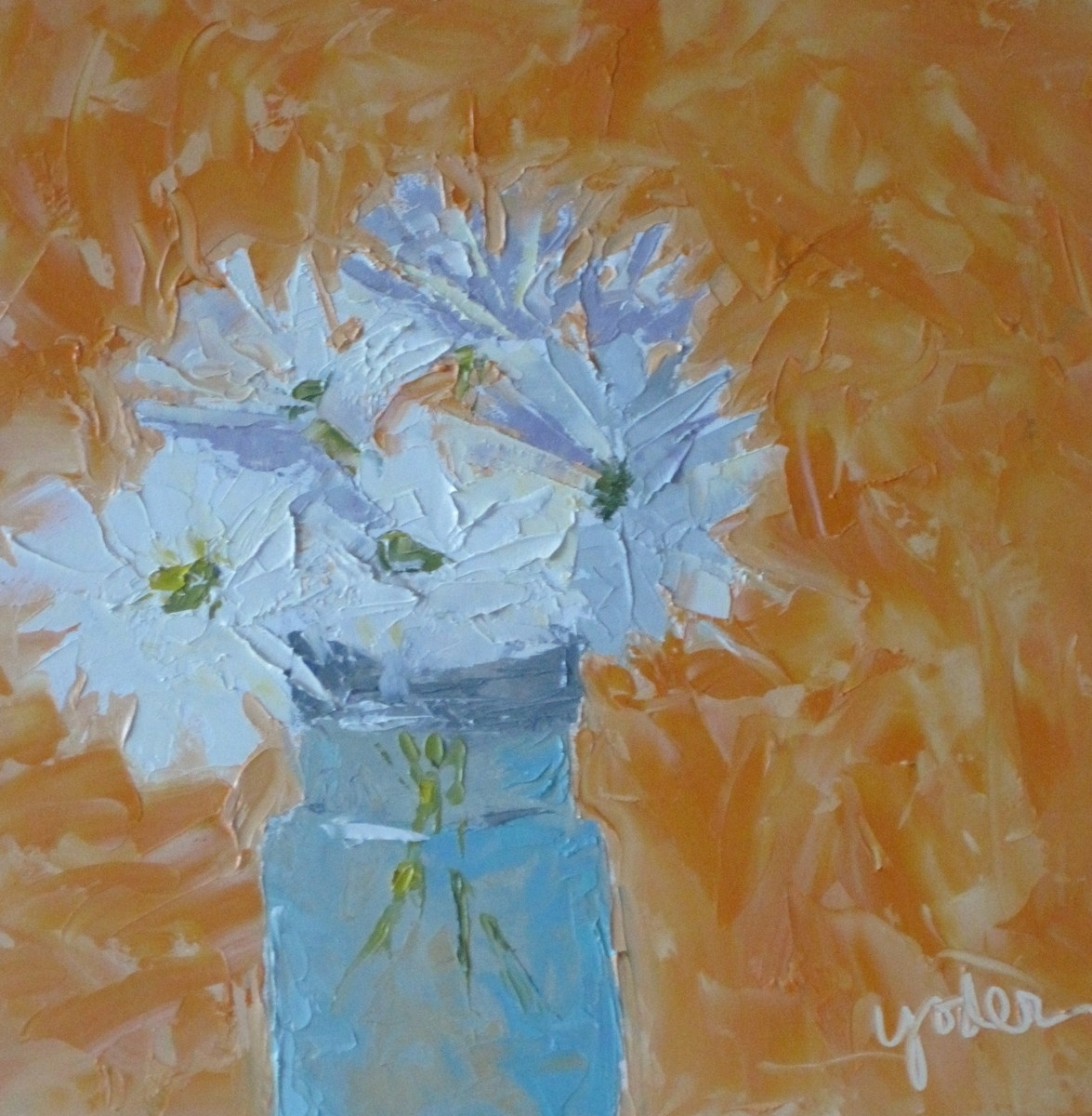Daisies In Turquoise Jar (large view)