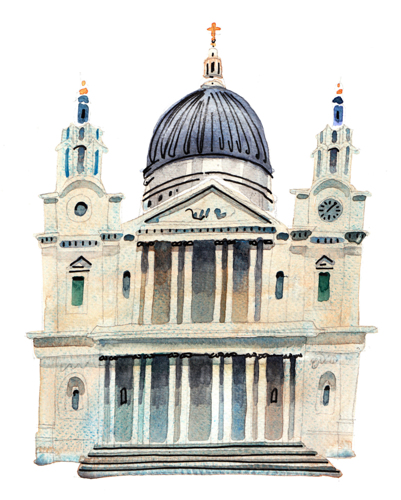 St. Paul's Cathedral - detail from Great Fire of London illustration