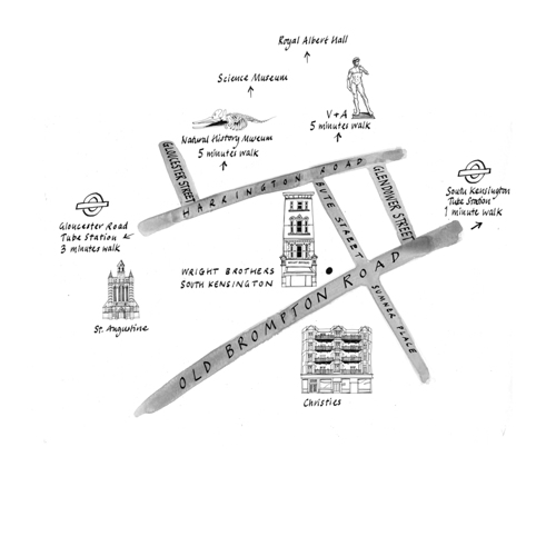 Map showing location of Wright Brothers South Kensington branch for their website.