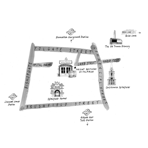 Map showing location of Wright Brothers Spitalfields branch for their website.