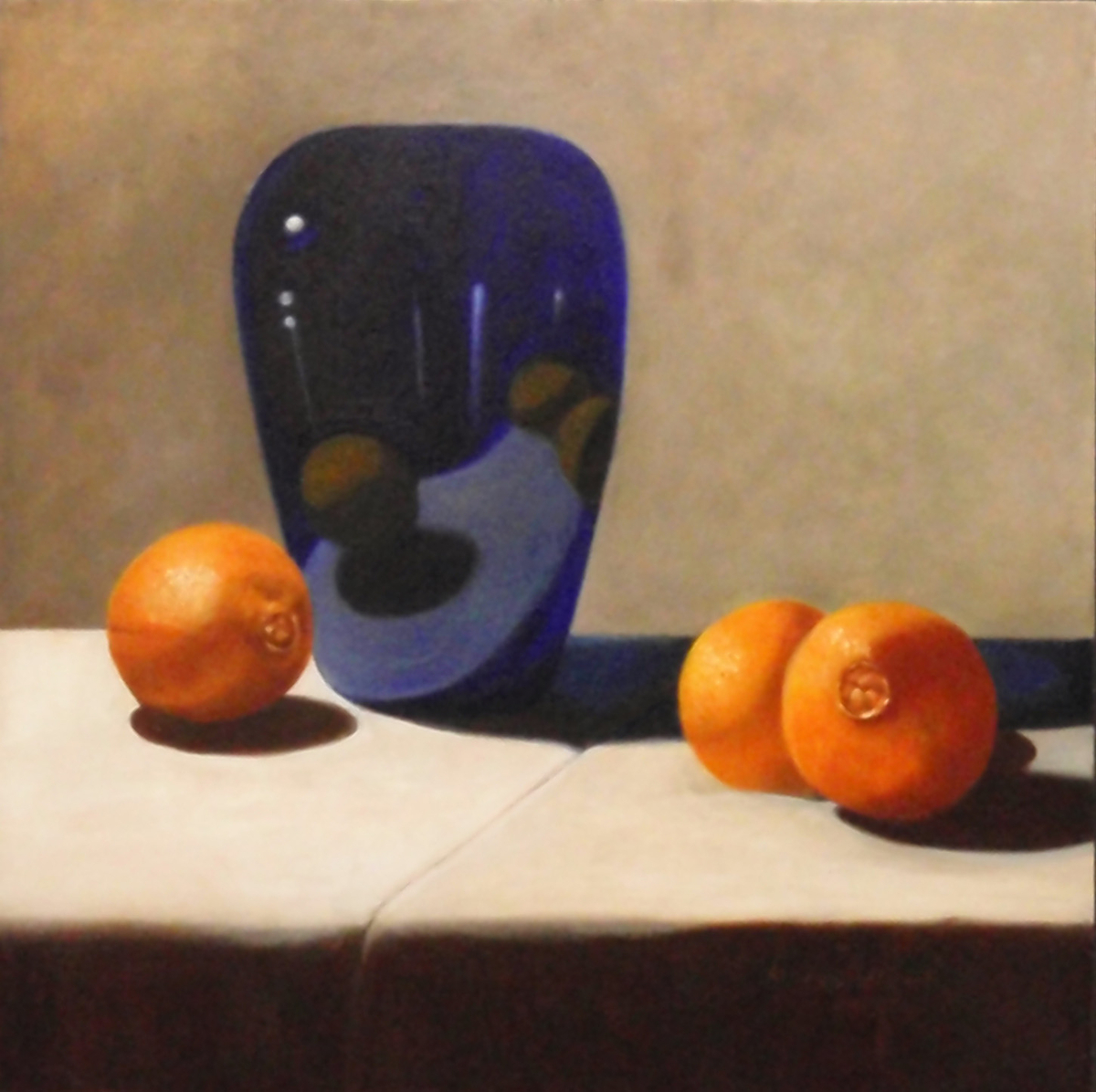 Oranges and Cobalt Urn (large view)