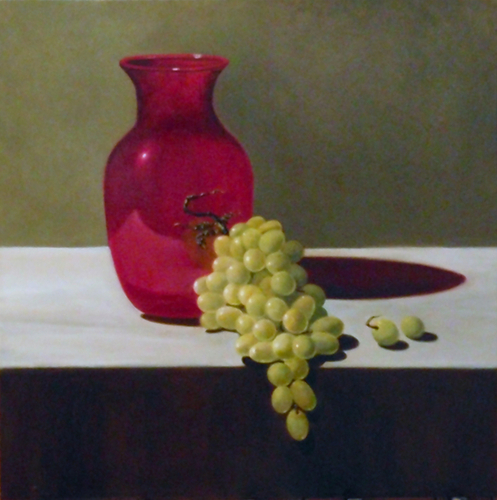 Green Grapes Ruby Vase (large view)