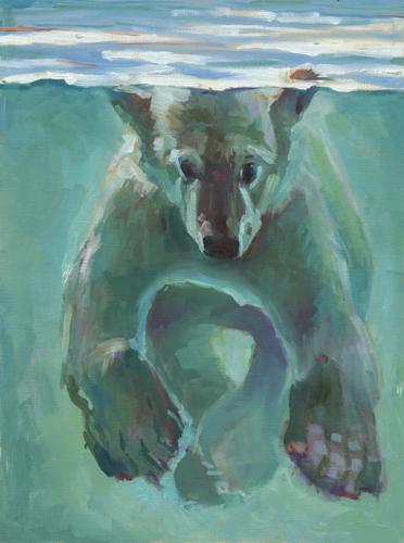 White bear, green water by Lue Isaac Art