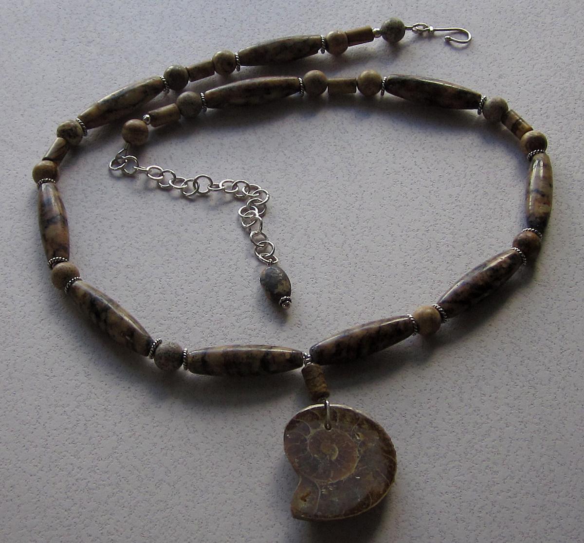Ammonite and golden feldspar necklace (large view)