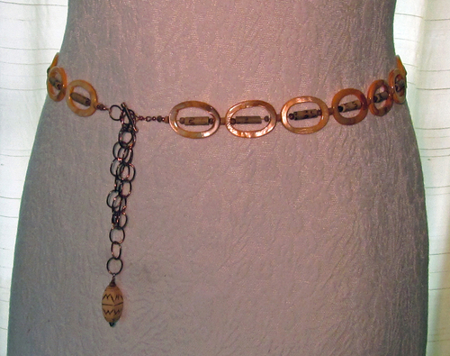 wood and shell bead belt