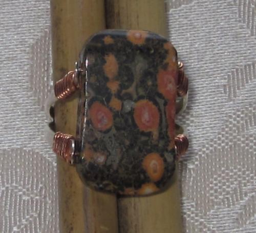 Leopardskin jasper ring