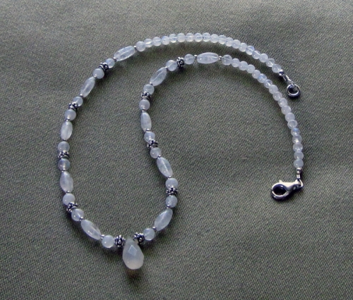 moonstone and Bali silver necklace