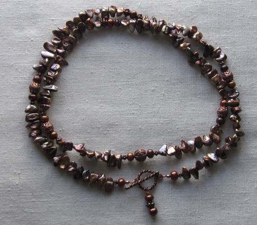 Opera length copper pearl necklace