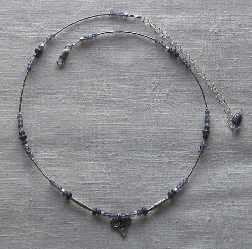 Iolite and fine silver necklace