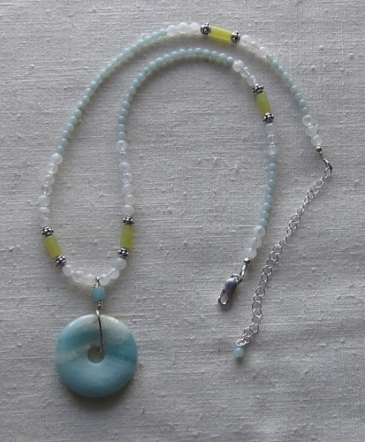 Amazonite and olive jade necklace