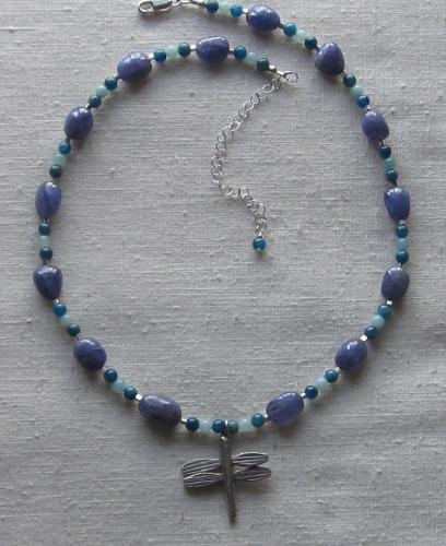 Tanzanite and apatite necklace