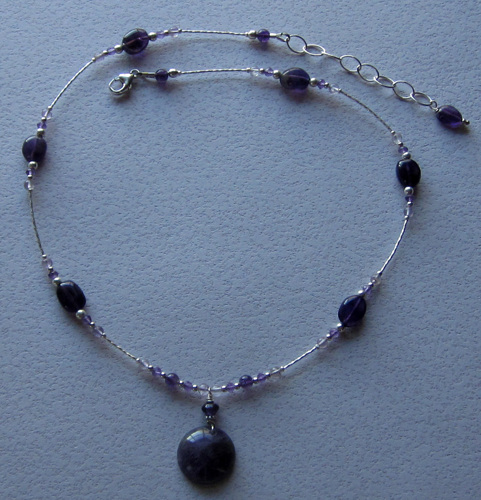 Amethyst disc necklace