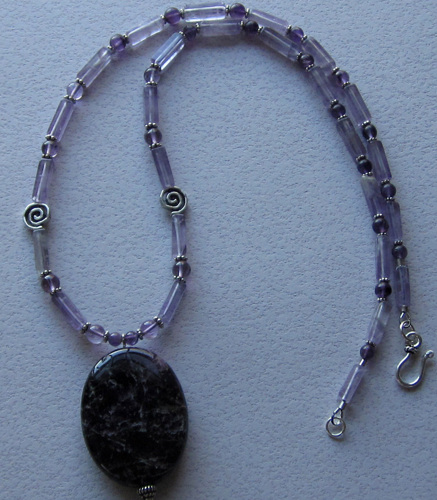 Dark and Stormy Amethyst oval necklace