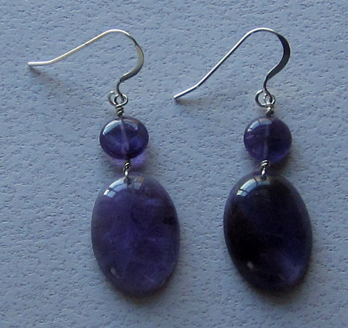 Amethyst disc and oval earrings