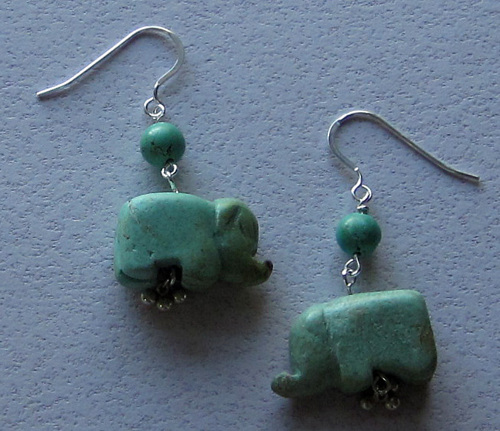 Carved turquoise elephant earrings