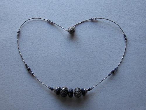 Rough cut sapphire necklace