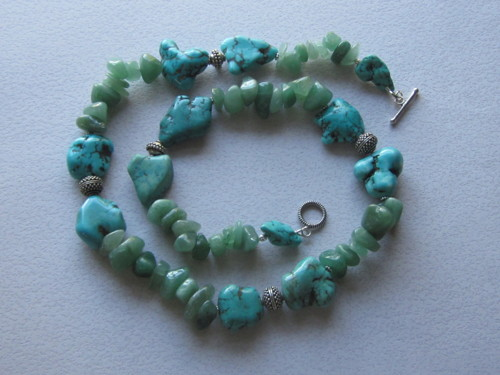 Turquoise and aventurine nugget strand