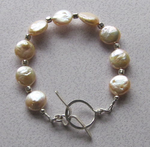 Champagne coin pearl bracelet