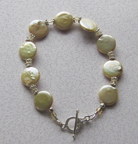 Coin pearl and citrine bracelet