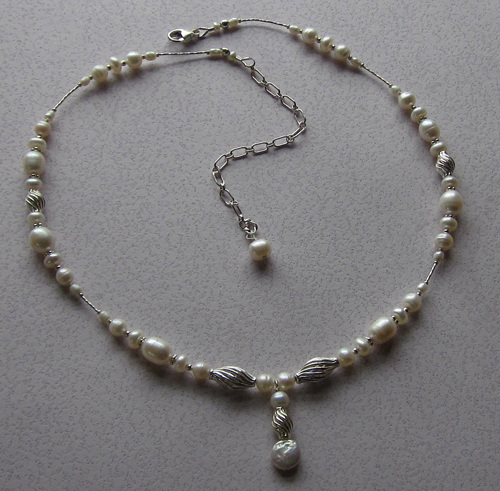 White pearl and Sterling necklace