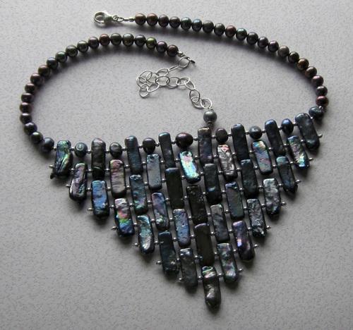Peacock pearl bib necklace by Berkshire Beading Company