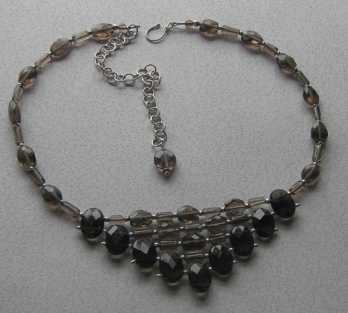 Double drilled smokey quartz necklace