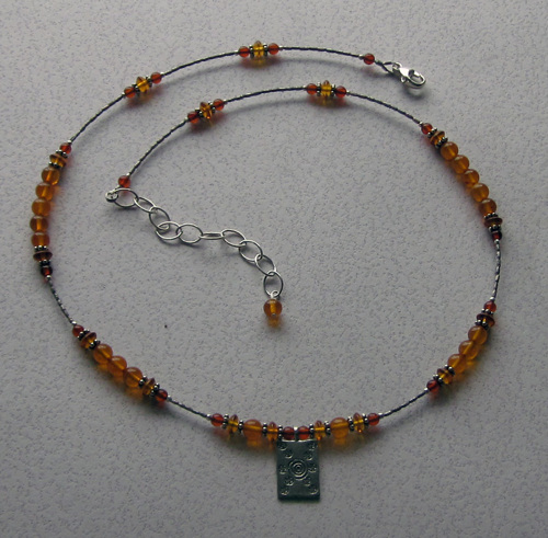 Amber and fine silver necklace