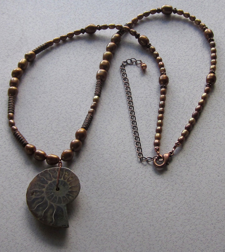 Ammonite and copper pearl necklace