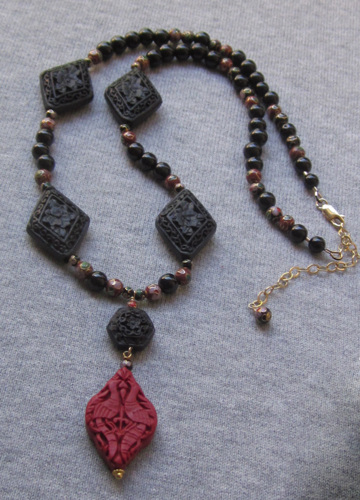 Red Crane and cloisonne necklace