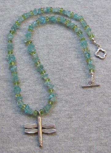 Blue apatite and peridot dragonfly necklace