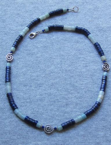 Lapis lazuli and Amazonite Spiral Necklace