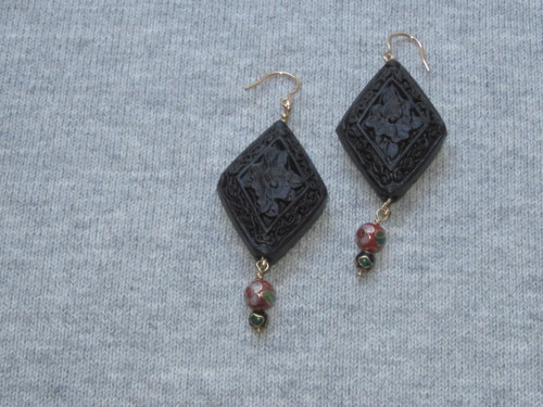 Carved lacquer and cloisonne earrings