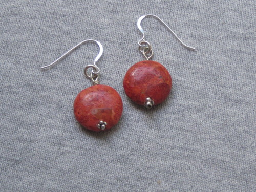 Coral disc earring
