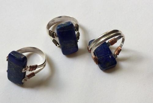 Doubloe drilled lapis lazuli ring