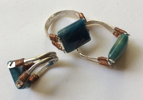Double drilled blue apatite ring