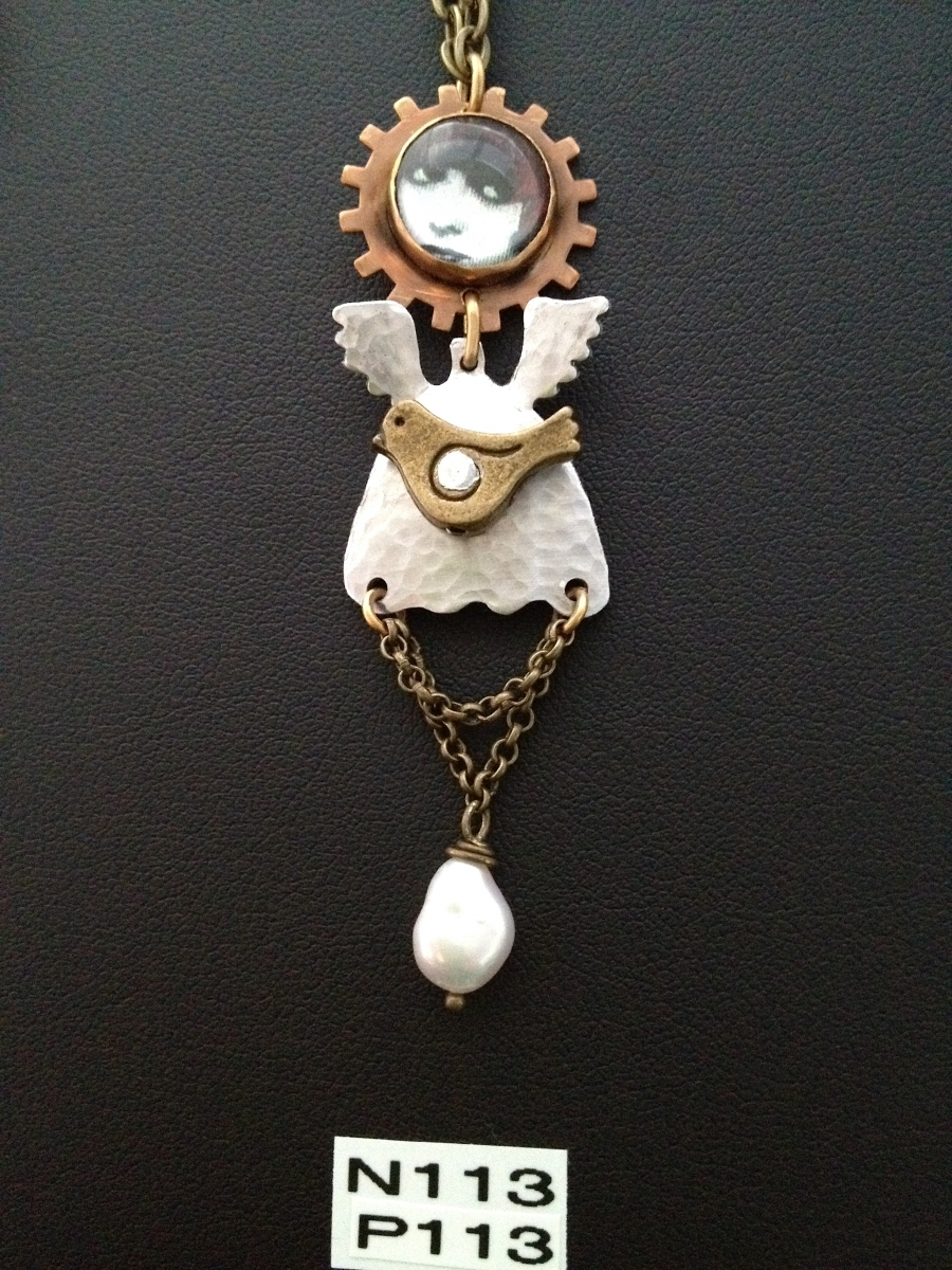 small angel necklace or pin (large view)