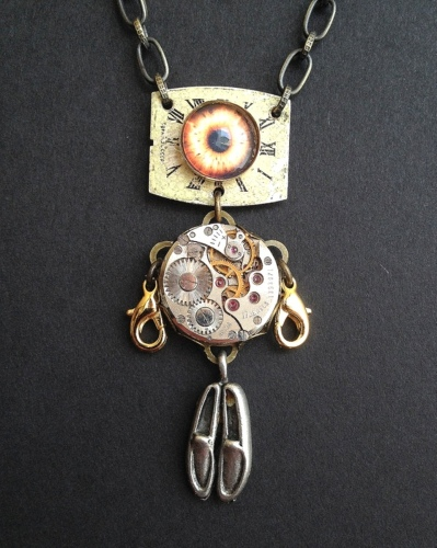 Robot Necklace 5 by LIZ FRANKLIN ARTS