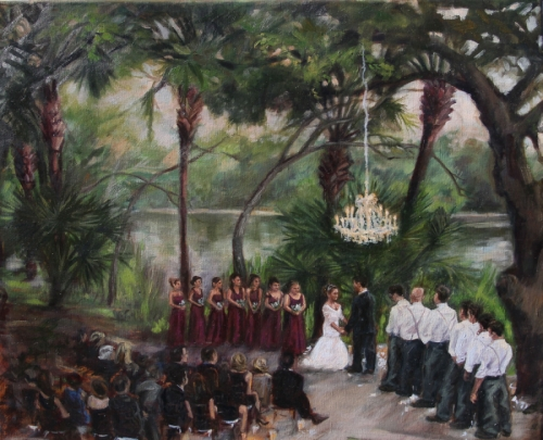 Painting Wedding at Laguna Gloria Original art by Leslie Kearns