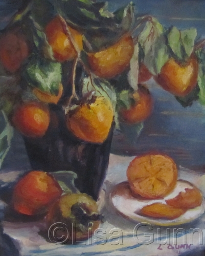 Persimmons and Black Vase