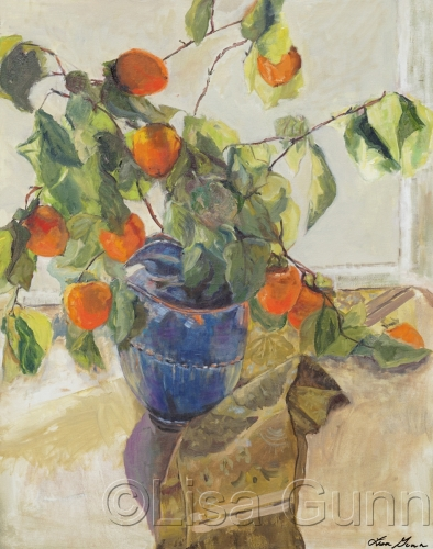 Persimmons in a blue vase