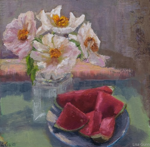 Still Life Of Peonies and Watermelon